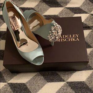 Tiffany blue Badgley Mischka peep toe
